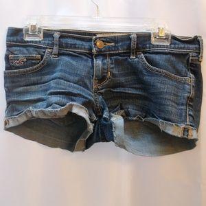 Hollister California Blue Denim Shorty Shorts